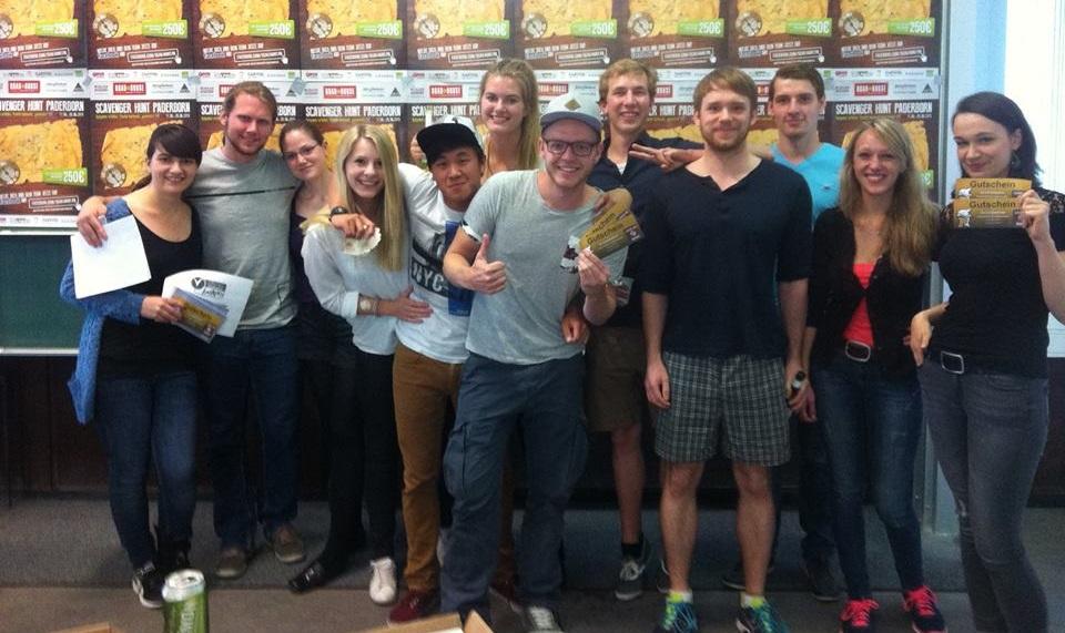 Einige der glücklichen Gewinner der ersten Scavenger Hunt Deutschlands, in Paderborn...