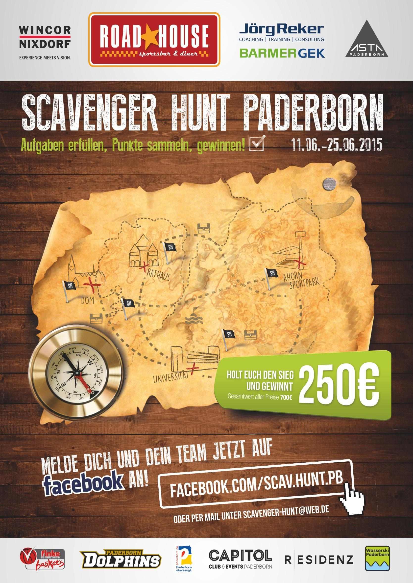 Das Plakat der ersten Scavenger Hunt Deutschlands in Paderborn