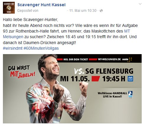 Scavenger Hunt Studenten Kassel Facebook Posting