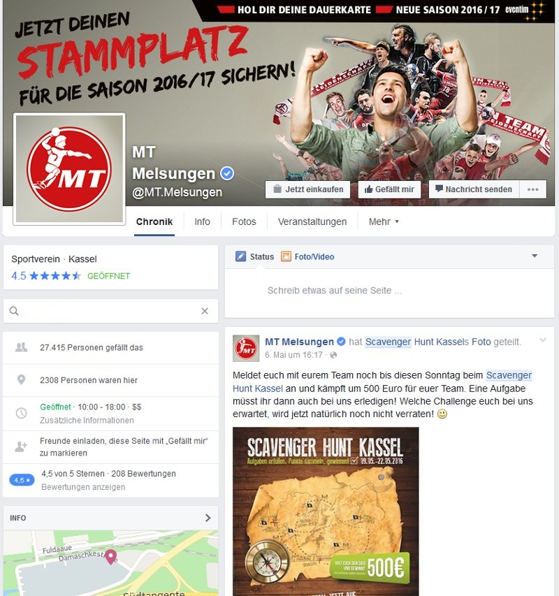 Scavenger Hunt Studenten Kassel MT Melsungen Facebook Posting