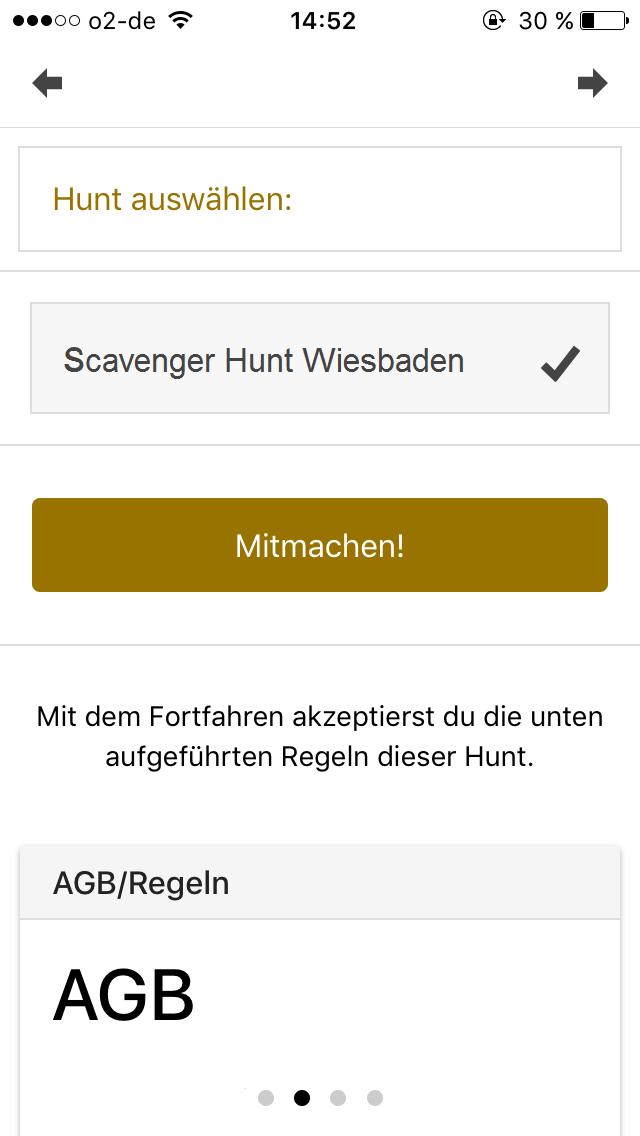 Scavenger Hunt App Hunt auswählen