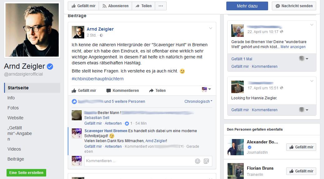 Arndt Zeigler, von Zeiglers wunderbare Welt des Fußballs, ist Fan der Scavenger Hunt