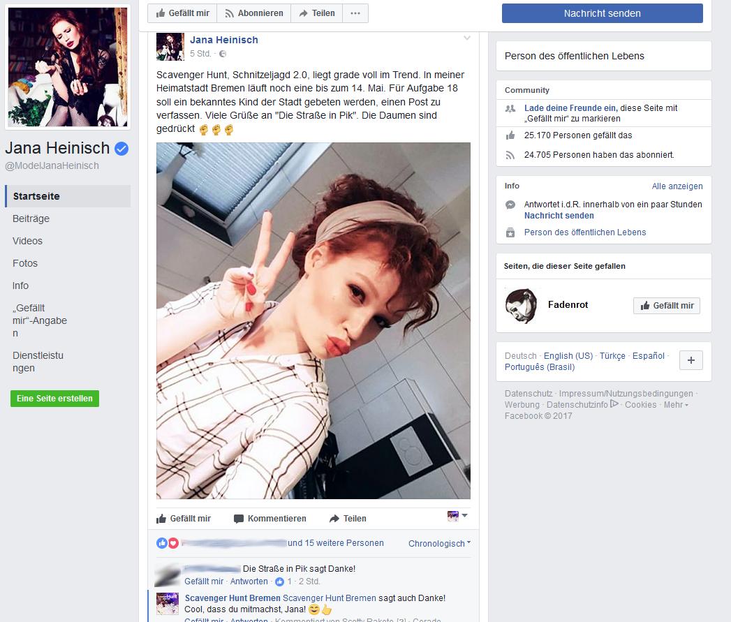 Jana Heinisch von Germanys next Topmodel hat ein Lieblingsteam bei der Scavenger Hunt Bremen