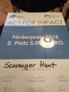 Act for Impact Award - Scavenger Hunt Deutschland gewinnt den zweiten Platz
