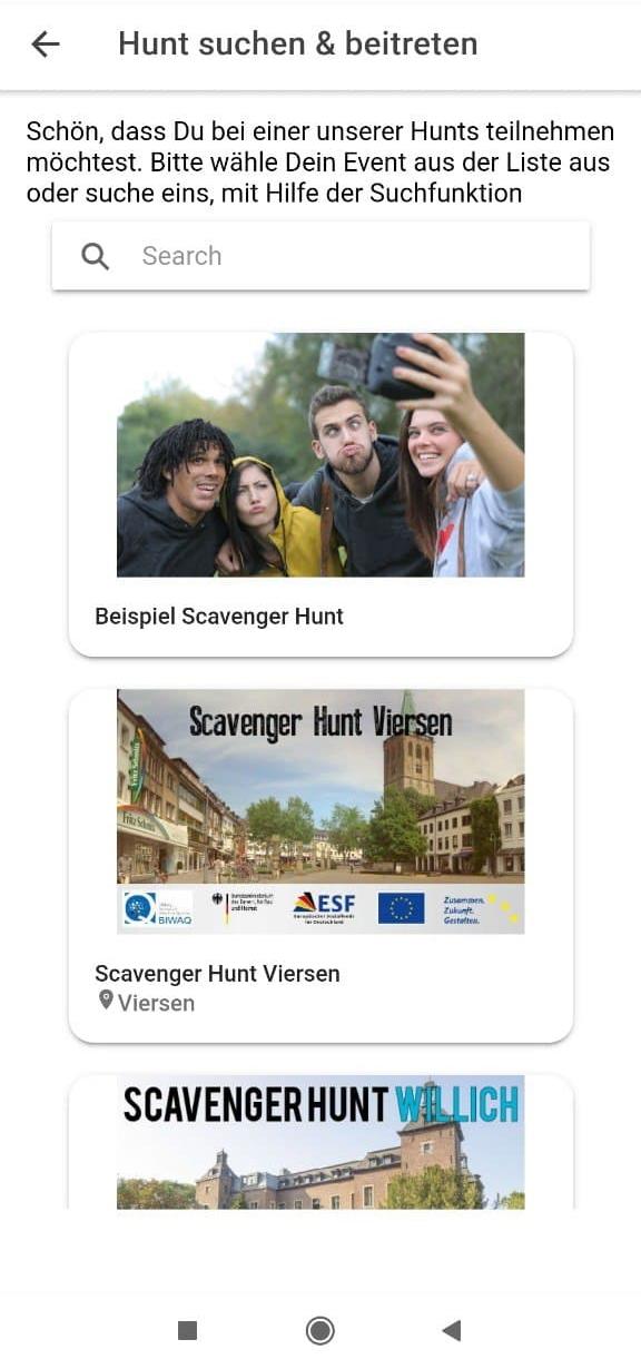 Scavenger Hunt App Team auswählen
